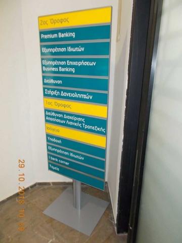 Σήμανση ορόφων στην Εθνική Τράπεζα
